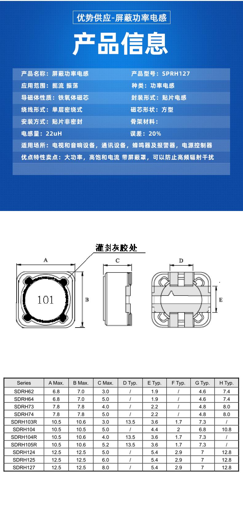 屏蔽功率型电感样品参数