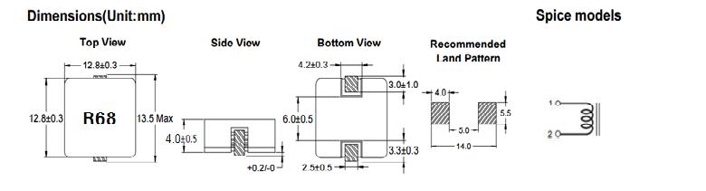 扁平线大电流电感—1340-R68M尺寸参数